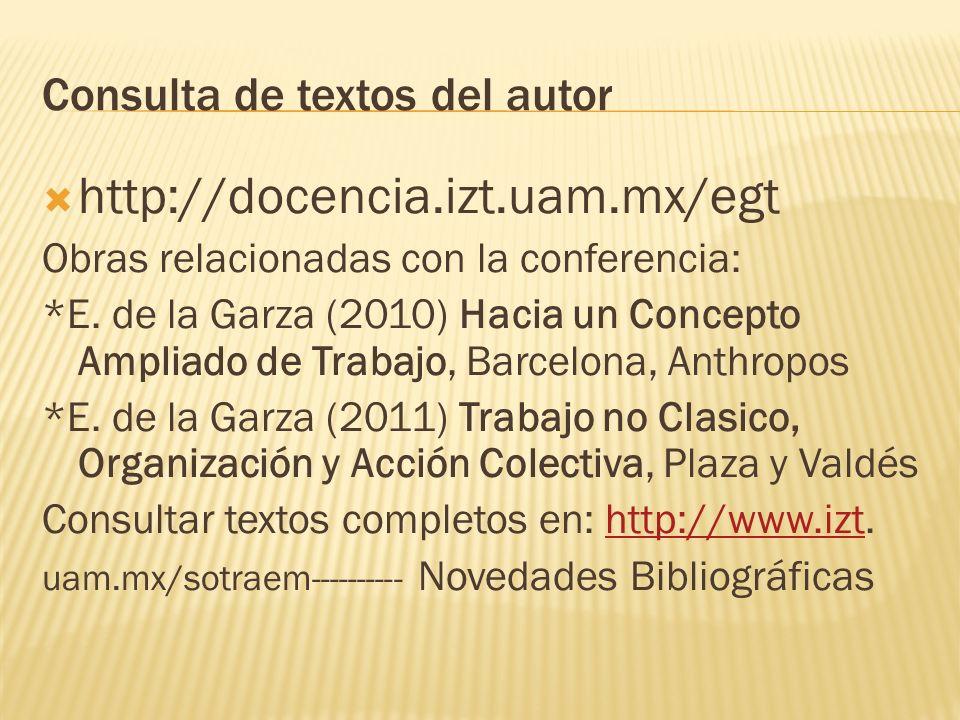 Consulta de textos del autor http://docencia.izt.uam.mx/egt Obras relacionadas con la conferencia: *E. de la Garza (2010) Hacia un Concepto Ampliado d