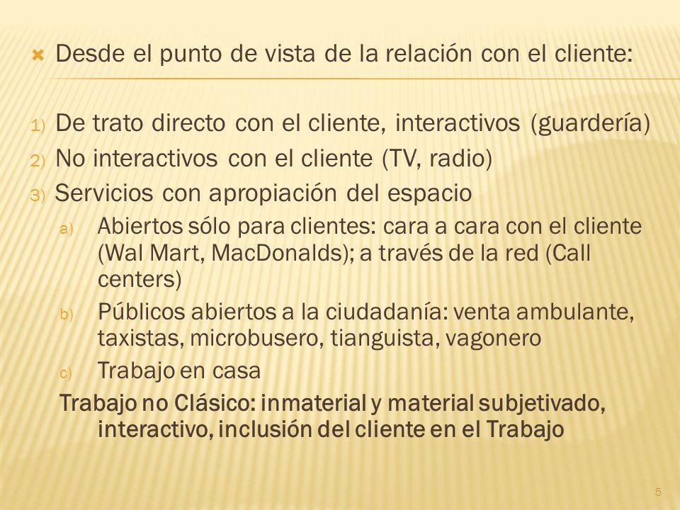 Desde el punto de vista de la relación con el cliente: 1) De trato directo con el cliente, interactivos (guardería) 2) No interactivos con el cliente