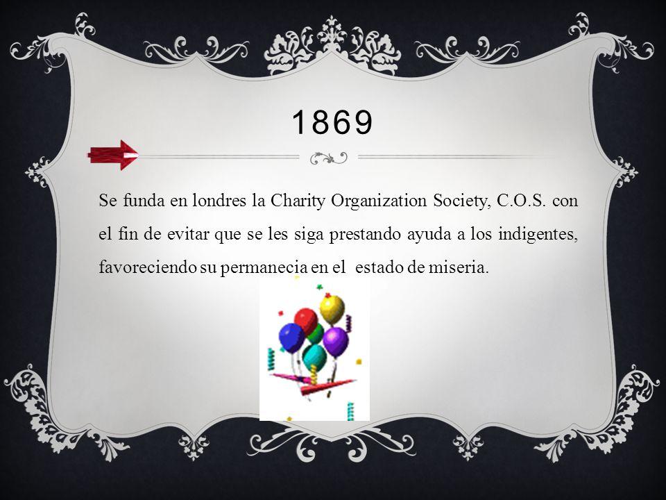 1840 Revolución Industrial. Es en este periodo cuando la organización de Elberfeld toma mas fuerza, proporcionando ayuda a los que quedaron desprotegi