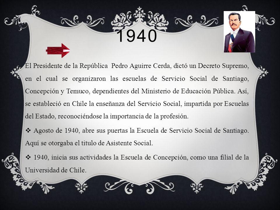1932 Se aumenta a 3 años la duración de los estudios de Trabajo Social, en consecuencia de los acuerdos tomados en la primera conferencia internaciona