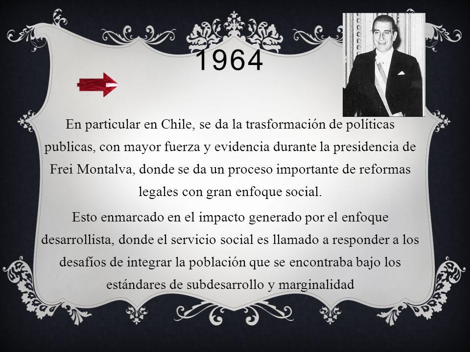 1963 Se abre en Temuco la carrera de servicio social esta vez en la sede regional de la Universidad de Chile. Se hace una reforma curricular : la dura