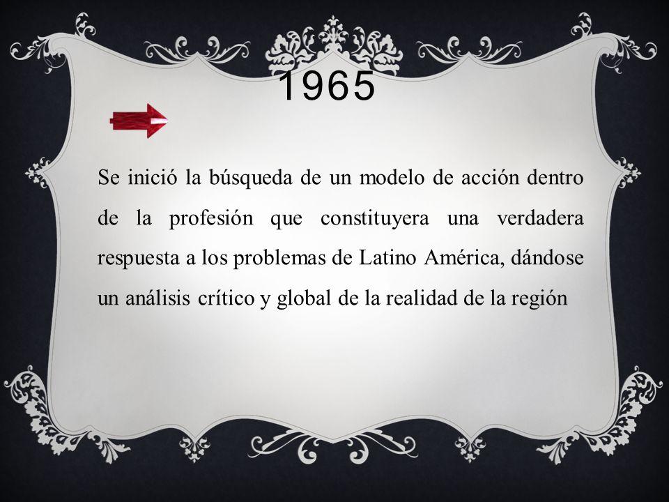 1965 Aprueba el consejo universitario de la universidad de Chile la categoría de escuela universitaria para las escuelas de servicio social, ya que ha