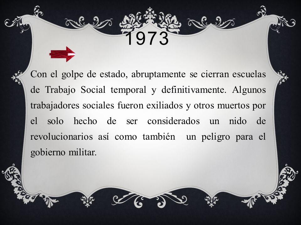 1970- 1972 Creación de la revista de Trabajo Social. 1 de enero de 1971, la Escuela Dr. Alejandro del Rio se fusiona con la Escuela de Trabajo Social