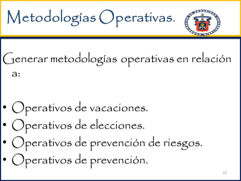 Metodologías Operativas.Generar metodologías operativas en relación a: Operativos de vacaciones.