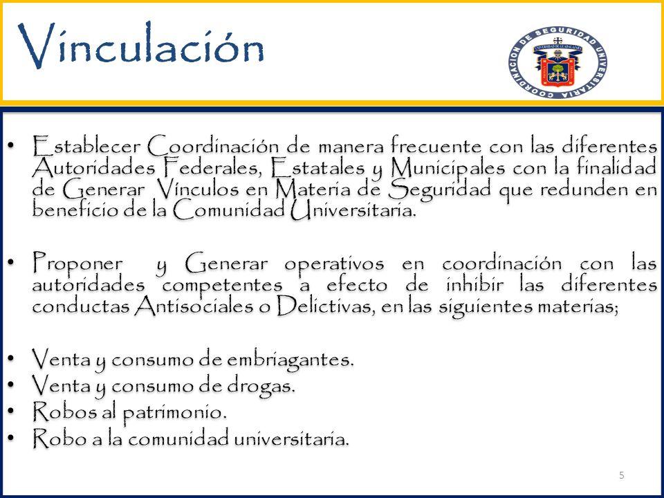 Vinculación Establecer Coordinación de manera frecuente con las diferentes Autoridades Federales, Estatales y Municipales con la finalidad de Generar Vínculos en Materia de Seguridad que redunden en beneficio de la Comunidad Universitaria.