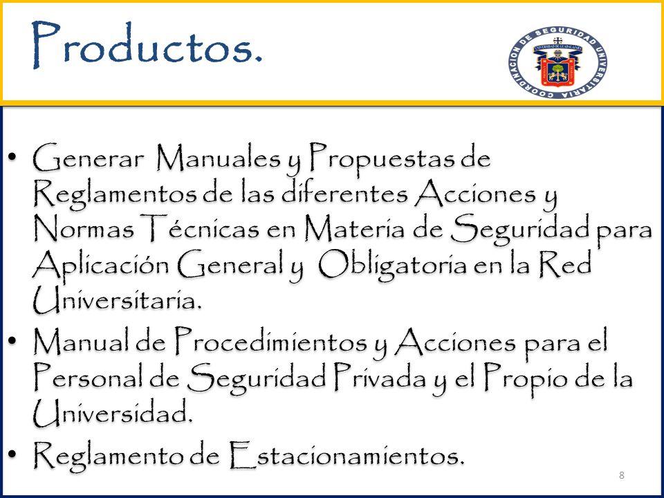Generar Manuales y Propuestas de Reglamentos de las diferentes Acciones y Normas Técnicas en Materia de Seguridad para Aplicación General y Obligatoria en la Red Universitaria.