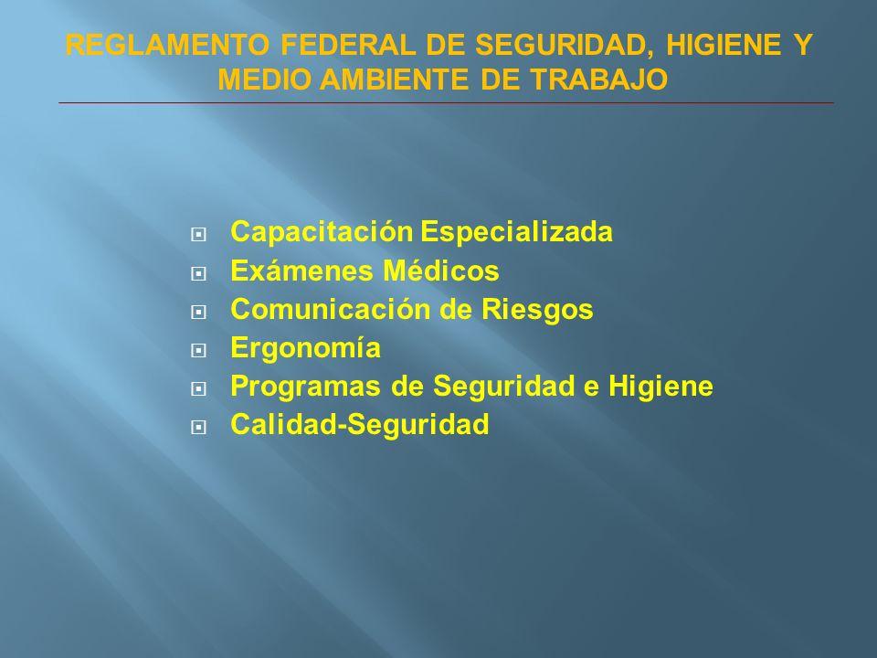 Capacitación Especializada Exámenes Médicos Comunicación de Riesgos Ergonomía Programas de Seguridad e Higiene Calidad-Seguridad REGLAMENTO FEDERAL DE