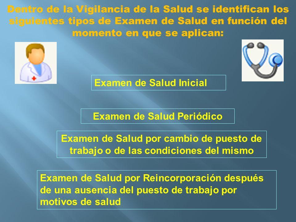 Dentro de la Vigilancia de la Salud se identifican los siguientes tipos de Examen de Salud en función del momento en que se aplican: Examen de Salud I