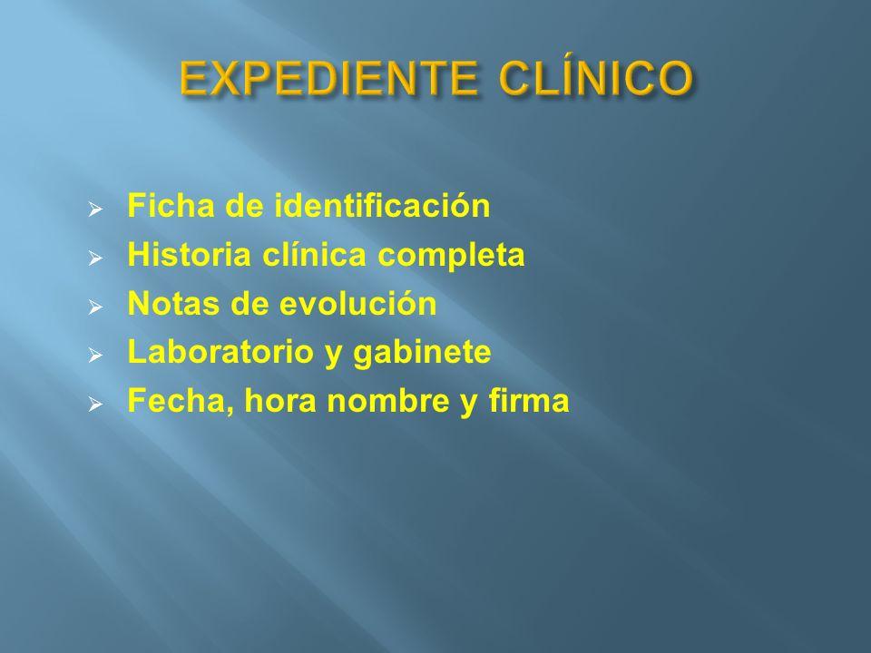 Ficha de identificación Historia clínica completa Notas de evolución Laboratorio y gabinete Fecha, hora nombre y firma