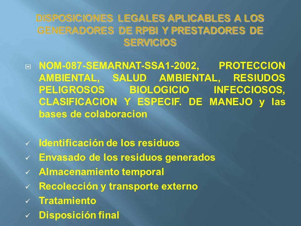 DISPOSICIONES LEGALES APLICABLES A LOS GENERADORES DE RPBI Y PRESTADORES DE SERVICIOS NOM-087-SEMARNAT-SSA1-2002, PROTECCION AMBIENTAL, SALUD AMBIENTA