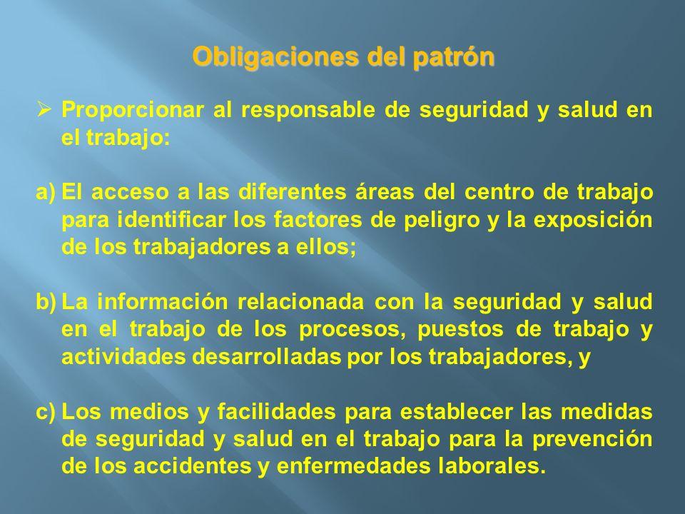 Obligaciones del patrón Proporcionar al responsable de seguridad y salud en el trabajo: a)El acceso a las diferentes áreas del centro de trabajo para