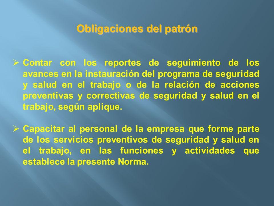 Obligaciones del patrón Contar con los reportes de seguimiento de los avances en la instauración del programa de seguridad y salud en el trabajo o de