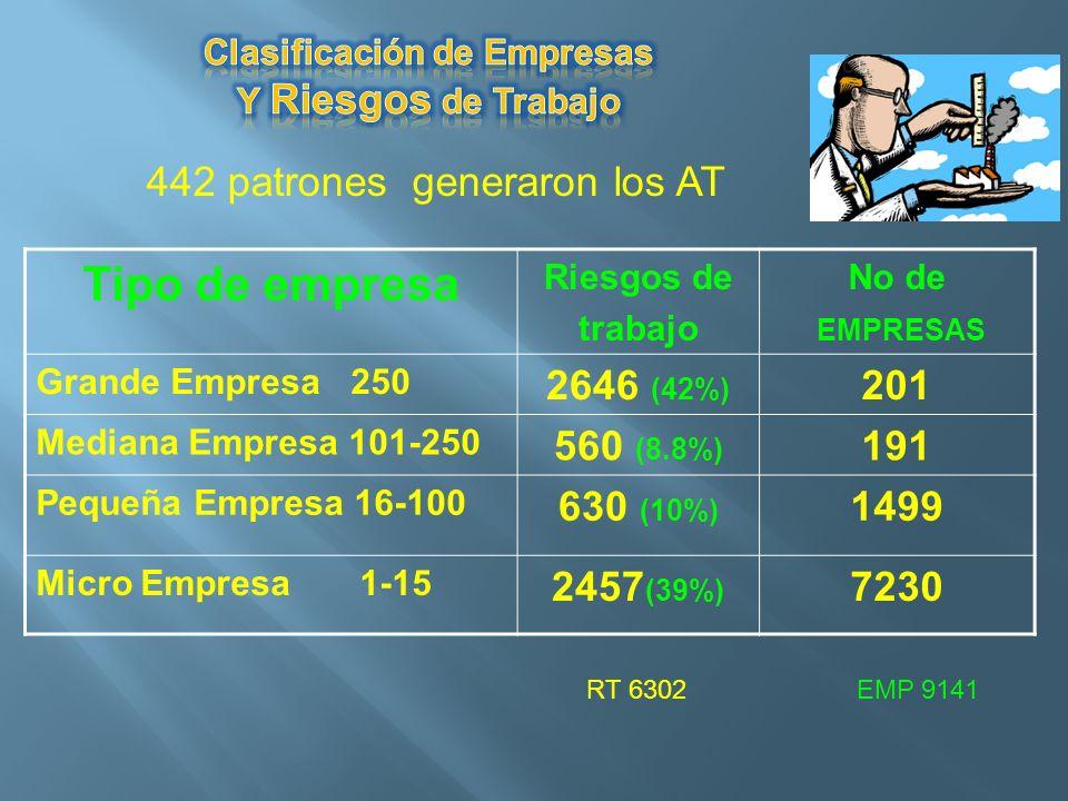 Tipo de empresa Riesgos de trabajo No de EMPRESAS Grande Empresa 250 2646 (42%) 201 Mediana Empresa 101-250 560 (8.8%) 191 Pequeña Empresa 16-100 630
