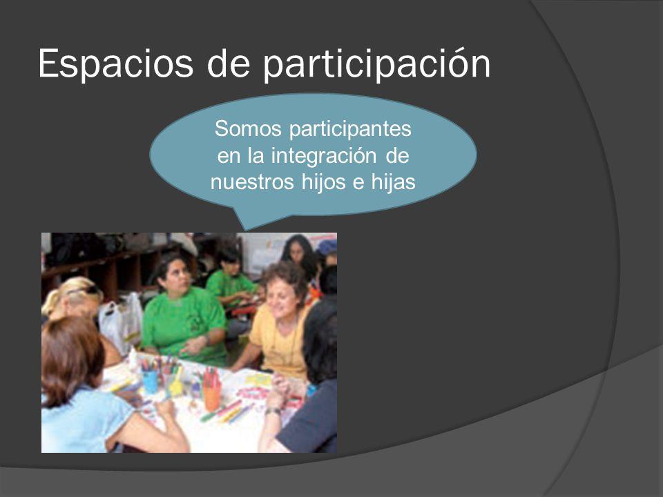 Espacios de participación Somos participantes en la integración de nuestros hijos e hijas