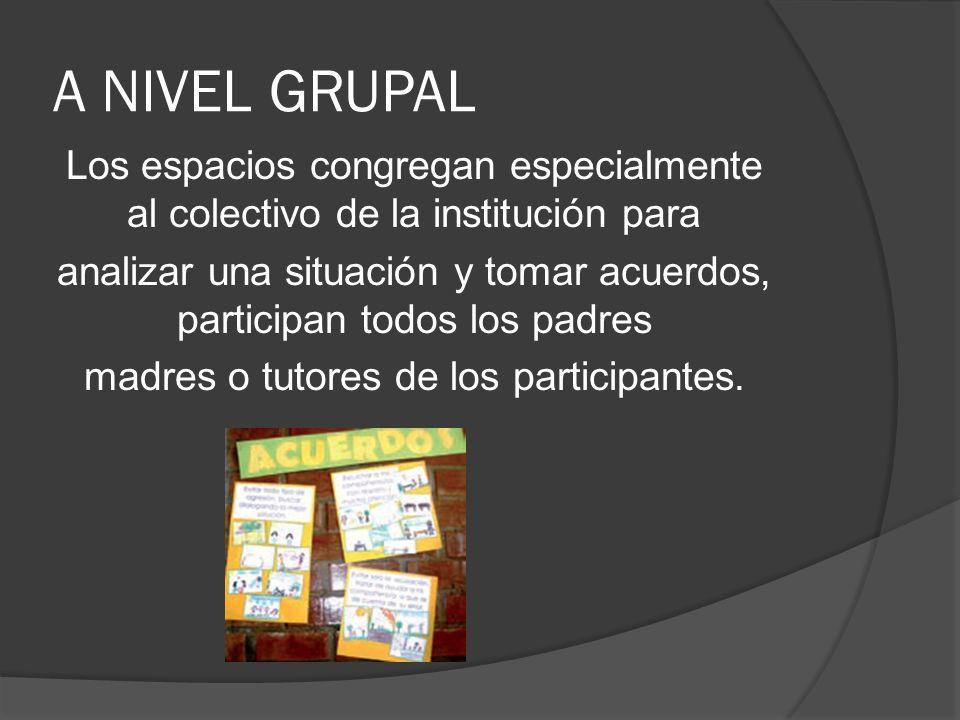 A NIVEL GRUPAL Los espacios congregan especialmente al colectivo de la institución para analizar una situación y tomar acuerdos, participan todos los padres madres o tutores de los participantes.