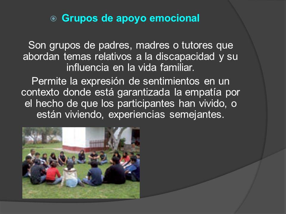 Grupos de apoyo emocional Son grupos de padres, madres o tutores que abordan temas relativos a la discapacidad y su influencia en la vida familiar. Pe