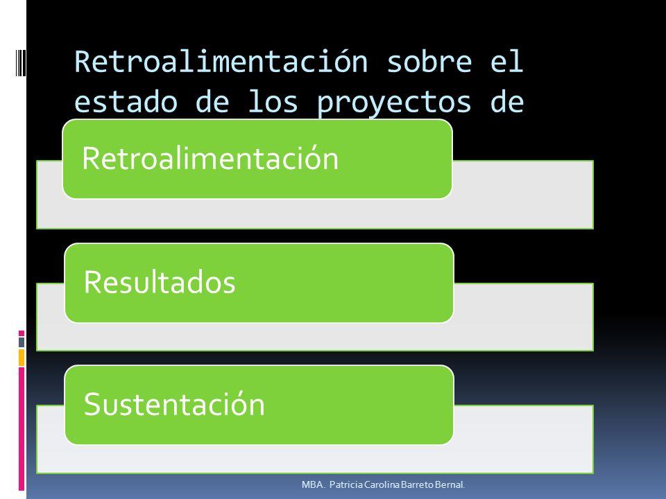 Retroalimentación sobre el estado de los proyectos de investigación. RetroalimentaciónResultadosSustentación MBA. Patricia Carolina Barreto Bernal.