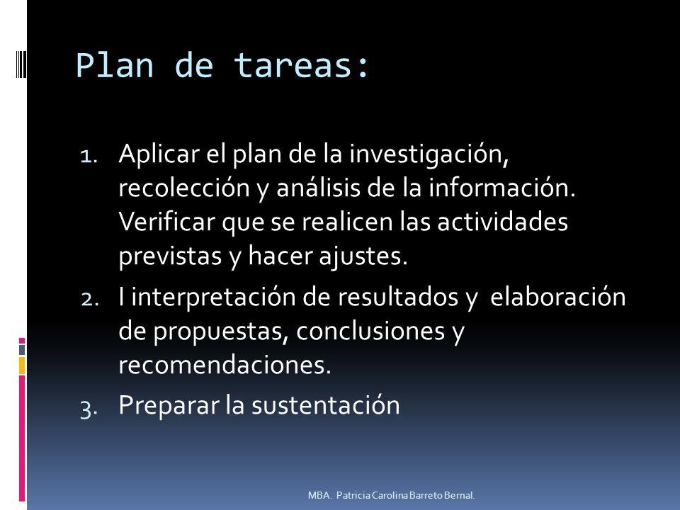 Plan de tareas: 1. Aplicar el plan de la investigación, recolección y análisis de la información. Verificar que se realicen las actividades previstas