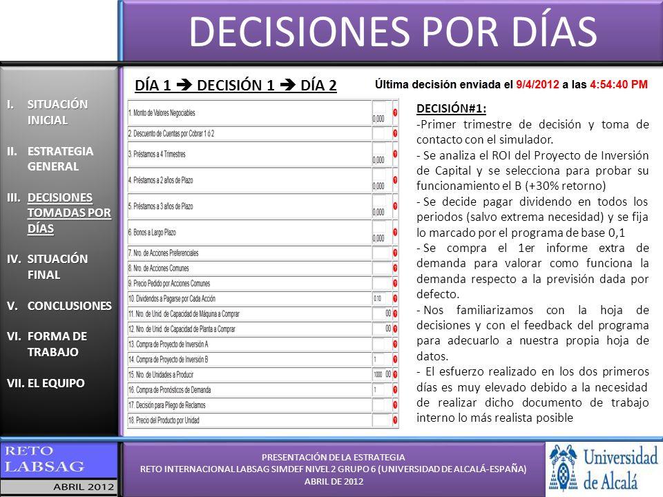 PRESENTACIÓN DE LA ESTRATEGIA RETO INTERNACIONAL LABSAG SIMDEF NIVEL 2 GRUPO 6 (UNIVERSIDAD DE ALCALÁ-ESPAÑA) ABRIL DE 2012 PRESENTACIÓN DE LA ESTRATEGIA RETO INTERNACIONAL LABSAG SIMDEF NIVEL 2 GRUPO 6 (UNIVERSIDAD DE ALCALÁ-ESPAÑA) ABRIL DE 2012 I.SITUACIÓN INICIAL II.ESTRATEGIA GENERAL III.DECISIONES TOMADAS POR DÍAS IV.SITUACIÓN FINAL V.CONCLUSIONES VI.FORMA DE TRABAJO VII.EL EQUIPO I.SITUACIÓN INICIAL II.ESTRATEGIA GENERAL III.DECISIONES TOMADAS POR DÍAS IV.SITUACIÓN FINAL V.CONCLUSIONES VI.FORMA DE TRABAJO VII.EL EQUIPO DECISIONES POR DÍAS DÍA 2 DECISIÓN 2 DÍA 3 DECISIÓN#2: -Segunda trimestre de decisión y análisis de la viabilidad de la hoja de cálculo propia - Se analiza el ROI de ambos proyectos y no disponemos de liquidez para afrontarlos - Se decide pagar dividendo 0,1 (todo =) - La demanda estimada similar a informes.
