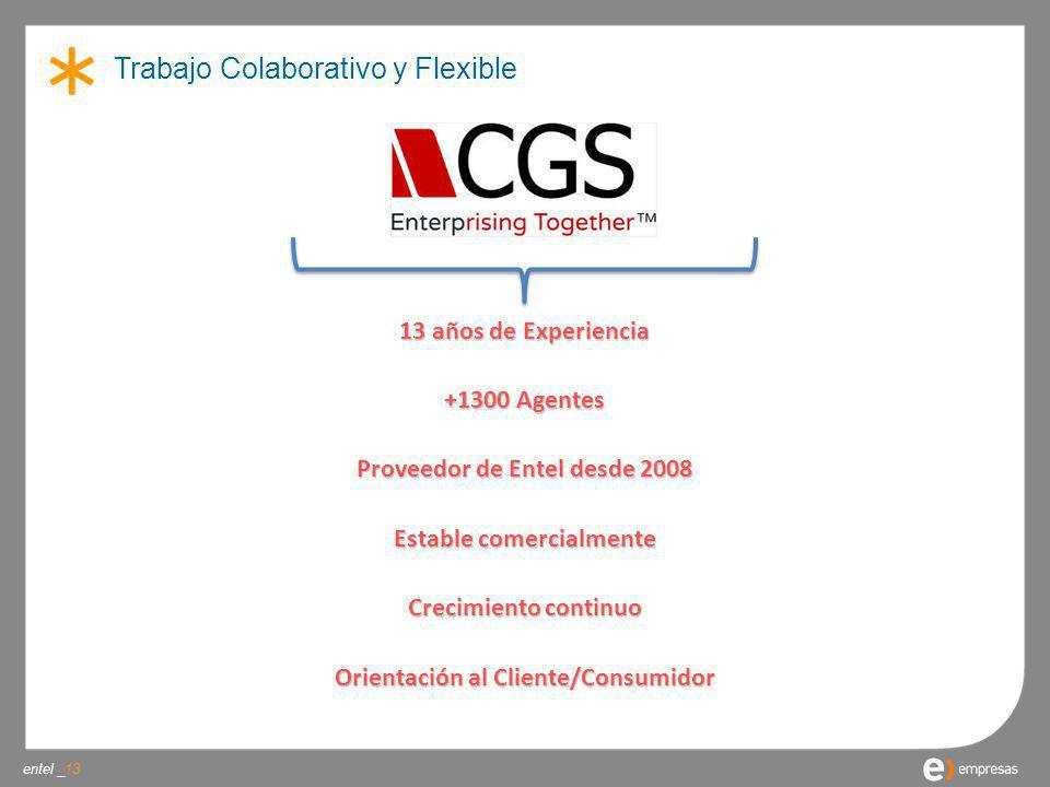 entel _ Trabajo Colaborativo y Flexible 13 13 años de Experiencia +1300 Agentes Proveedor de Entel desde 2008 Estable comercialmente Crecimiento conti
