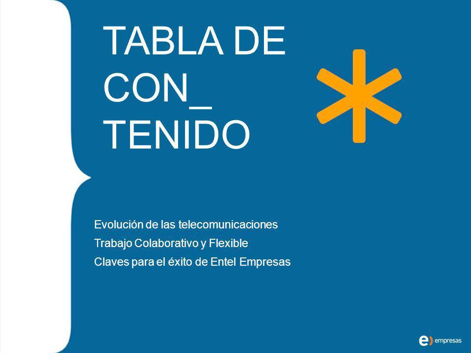 TABLA DE CON_ TENIDO Evolución de las telecomunicaciones Trabajo Colaborativo y Flexible Claves para el éxito de Entel Empresas
