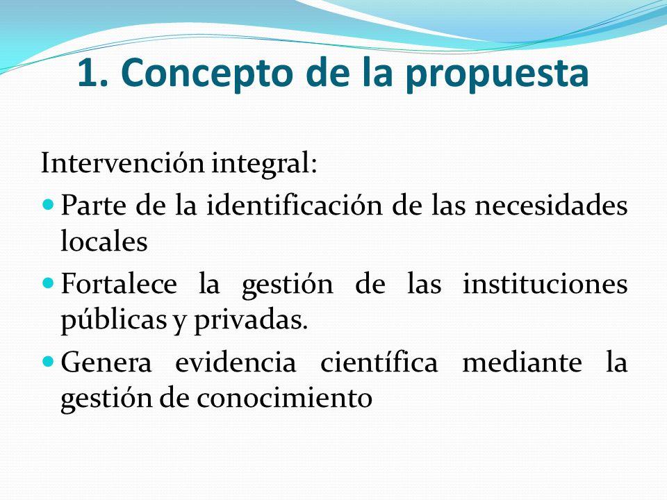 1. Concepto de la propuesta Intervención integral: Parte de la identificación de las necesidades locales Fortalece la gestión de las instituciones púb