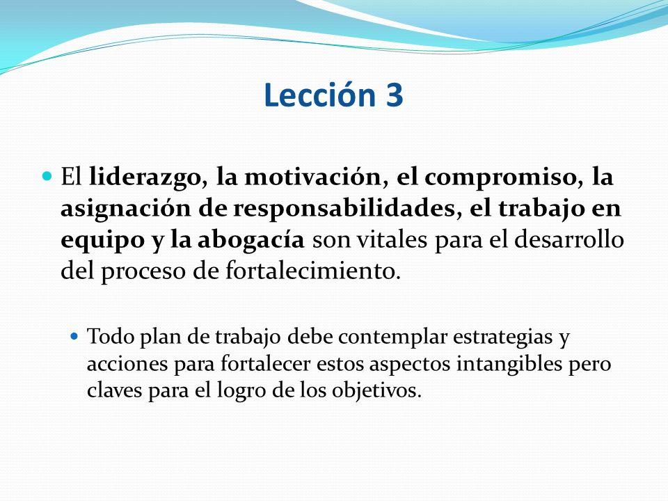 Lección 3 El liderazgo, la motivación, el compromiso, la asignación de responsabilidades, el trabajo en equipo y la abogacía son vitales para el desar