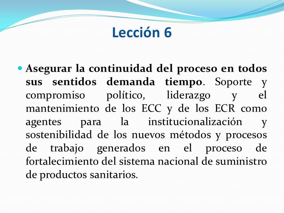 Lección 6 Asegurar la continuidad del proceso en todos sus sentidos demanda tiempo. Soporte y compromiso político, liderazgo y el mantenimiento de los