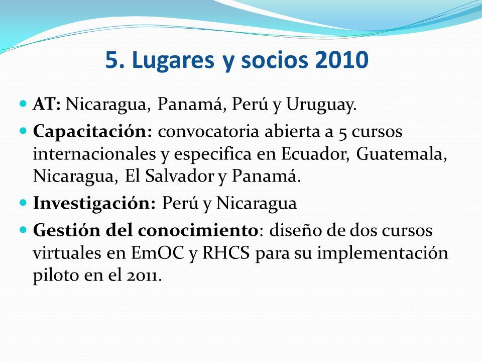 AT: Nicaragua, Panamá, Perú y Uruguay. Capacitación: convocatoria abierta a 5 cursos internacionales y especifica en Ecuador, Guatemala, Nicaragua, El