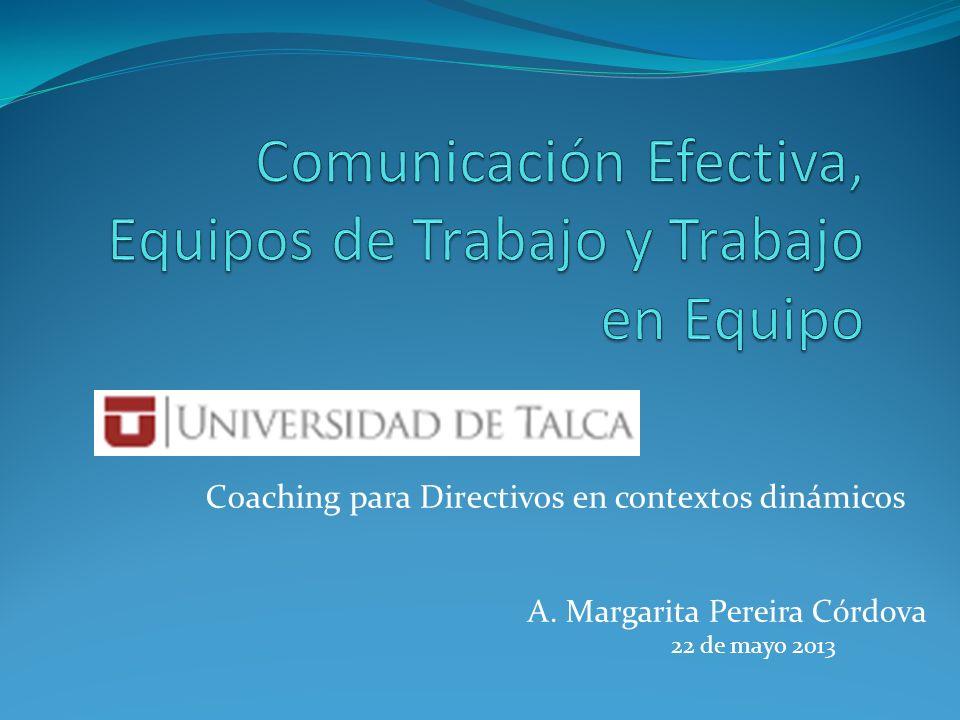 Coaching para Directivos en contextos dinámicos A. Margarita Pereira Córdova 22 de mayo 2013