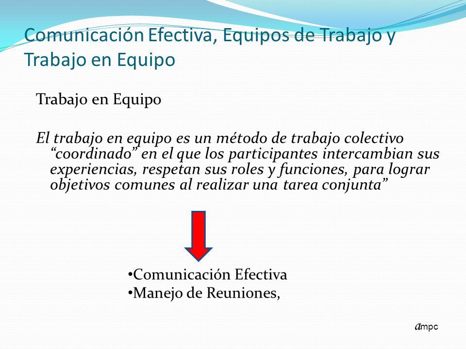 Comunicación Efectiva, Equipos de Trabajo y Trabajo en Equipo Trabajo en Equipo El trabajo en equipo es un método de trabajo colectivo coordinado en e