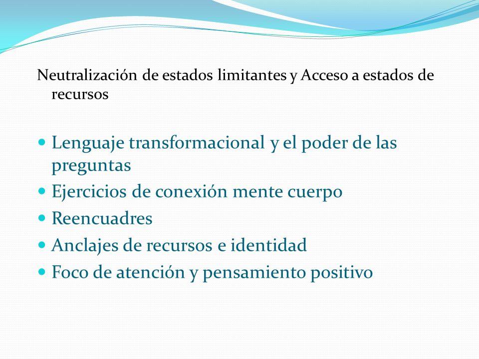 Neutralización de estados limitantes y Acceso a estados de recursos Lenguaje transformacional y el poder de las preguntas Ejercicios de conexión mente