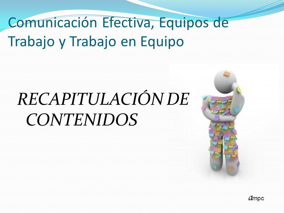Comunicación Efectiva, Equipos de Trabajo y Trabajo en Equipo RECAPITULACIÓN DE CONTENIDOS a mpc