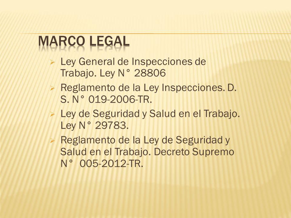Ley General de Inspecciones de Trabajo. Ley N° 28806 Reglamento de la Ley Inspecciones. D. S. N° 019-2006-TR. Ley de Seguridad y Salud en el Trabajo.