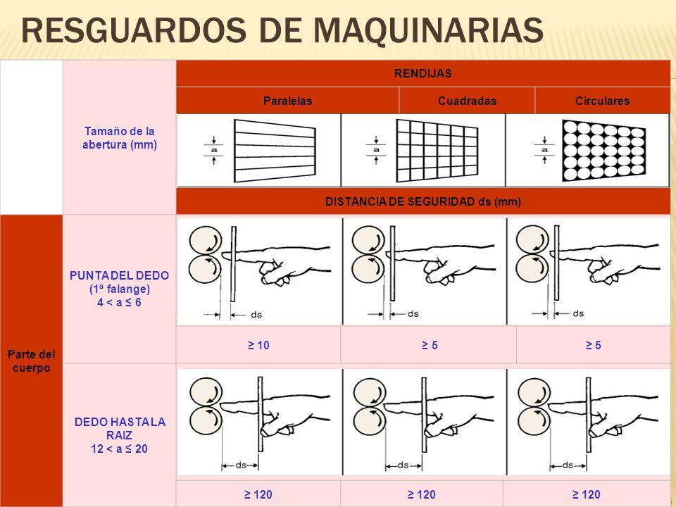 26 RESGUARDOS DE MAQUINARIAS Tamaño de la abertura (mm) RENDIJAS ParalelasCuadradasCirculares DISTANCIA DE SEGURIDAD ds (mm) Parte del cuerpo PUNTA DE