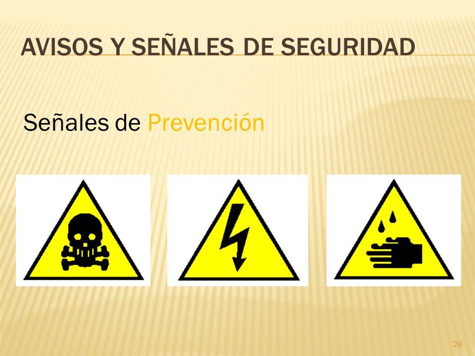 29 AVISOS Y SEÑALES DE SEGURIDAD Señales de Prevención