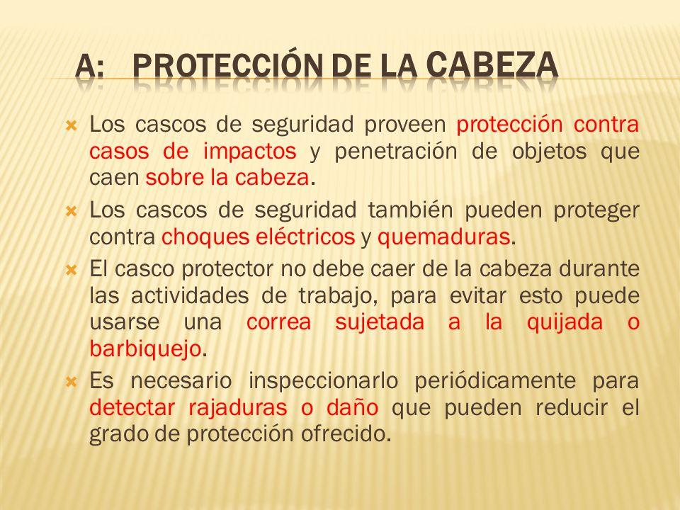 Los cascos de seguridad proveen protección contra casos de impactos y penetración de objetos que caen sobre la cabeza. Los cascos de seguridad también