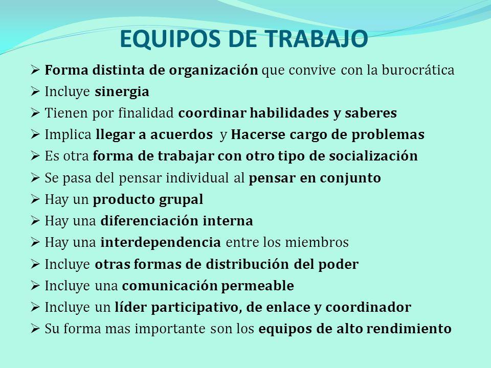 EQUIPOS DE TRABAJO Forma distinta de organización que convive con la burocrática Incluye sinergia Tienen por finalidad coordinar habilidades y saberes