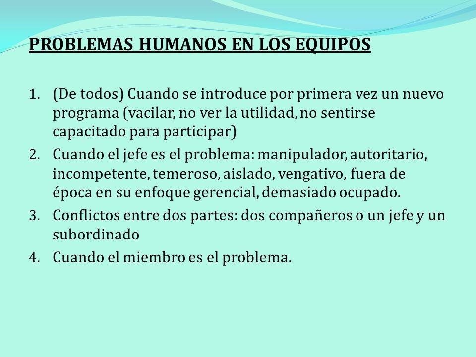 PROBLEMAS HUMANOS EN LOS EQUIPOS 1. (De todos) Cuando se introduce por primera vez un nuevo programa (vacilar, no ver la utilidad, no sentirse capacit