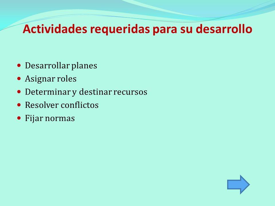 Actividades requeridas para su desarrollo Desarrollar planes Asignar roles Determinar y destinar recursos Resolver conflictos Fijar normas