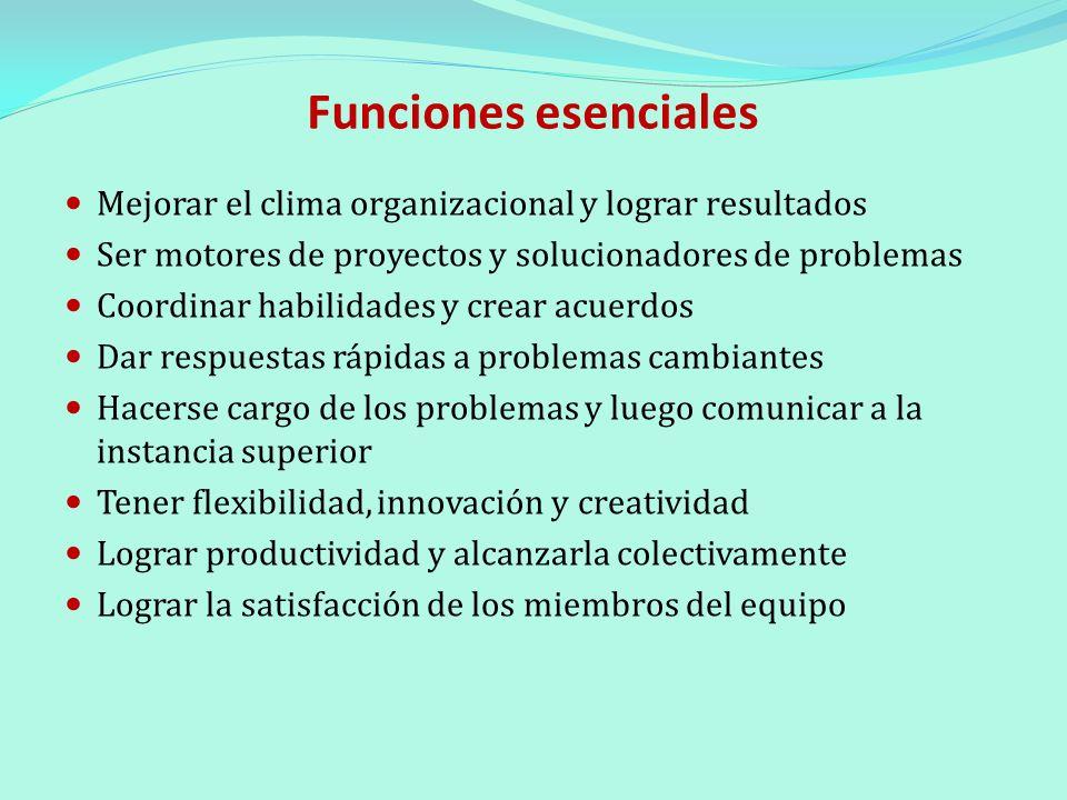 Funciones esenciales Mejorar el clima organizacional y lograr resultados Ser motores de proyectos y solucionadores de problemas Coordinar habilidades