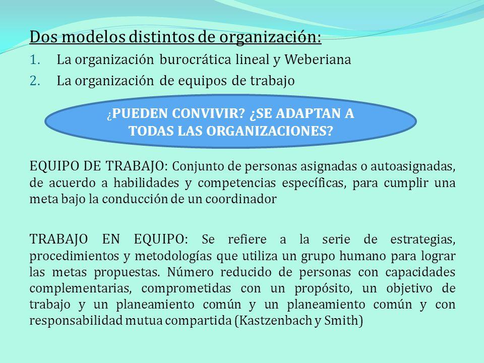 Dos modelos distintos de organización: 1. La organización burocrática lineal y Weberiana 2. La organización de equipos de trabajo EQUIPO DE TRABAJO: C