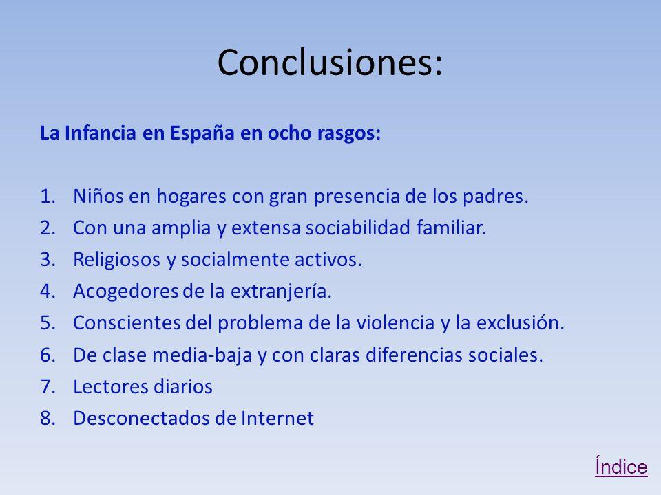 Conclusiones: La Infancia en España en ocho rasgos: 1.Niños en hogares con gran presencia de los padres.