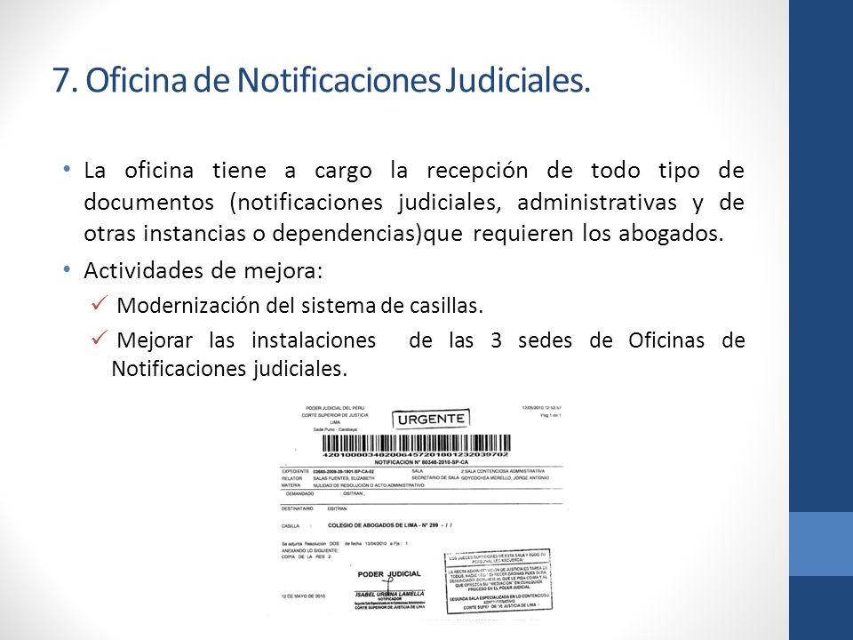 7. Oficina de Notificaciones Judiciales.