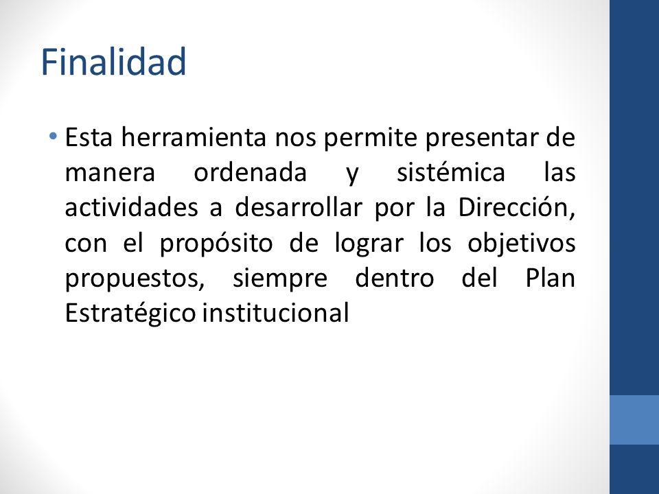 Finalidad Esta herramienta nos permite presentar de manera ordenada y sistémica las actividades a desarrollar por la Dirección, con el propósito de lograr los objetivos propuestos, siempre dentro del Plan Estratégico institucional