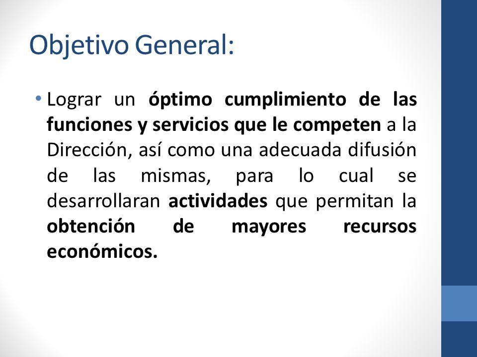 Objetivo General: Lograr un óptimo cumplimiento de las funciones y servicios que le competen a la Dirección, así como una adecuada difusión de las mismas, para lo cual se desarrollaran actividades que permitan la obtención de mayores recursos económicos.