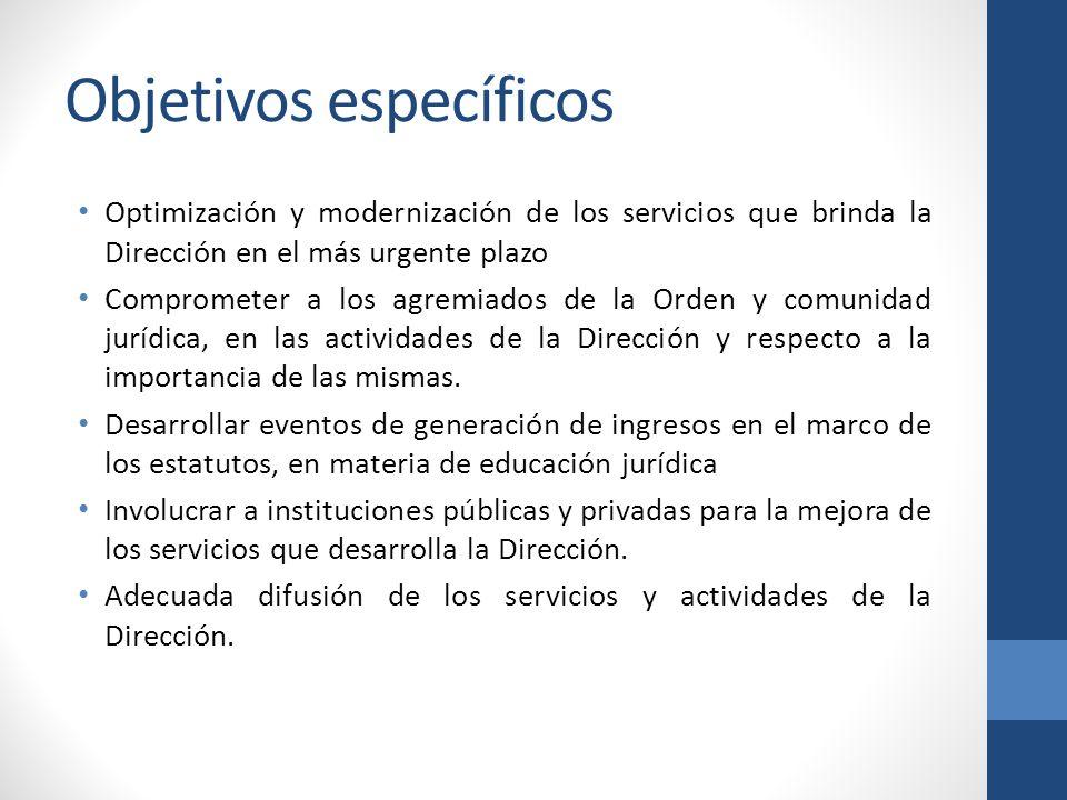Objetivos específicos Optimización y modernización de los servicios que brinda la Dirección en el más urgente plazo Comprometer a los agremiados de la Orden y comunidad jurídica, en las actividades de la Dirección y respecto a la importancia de las mismas.