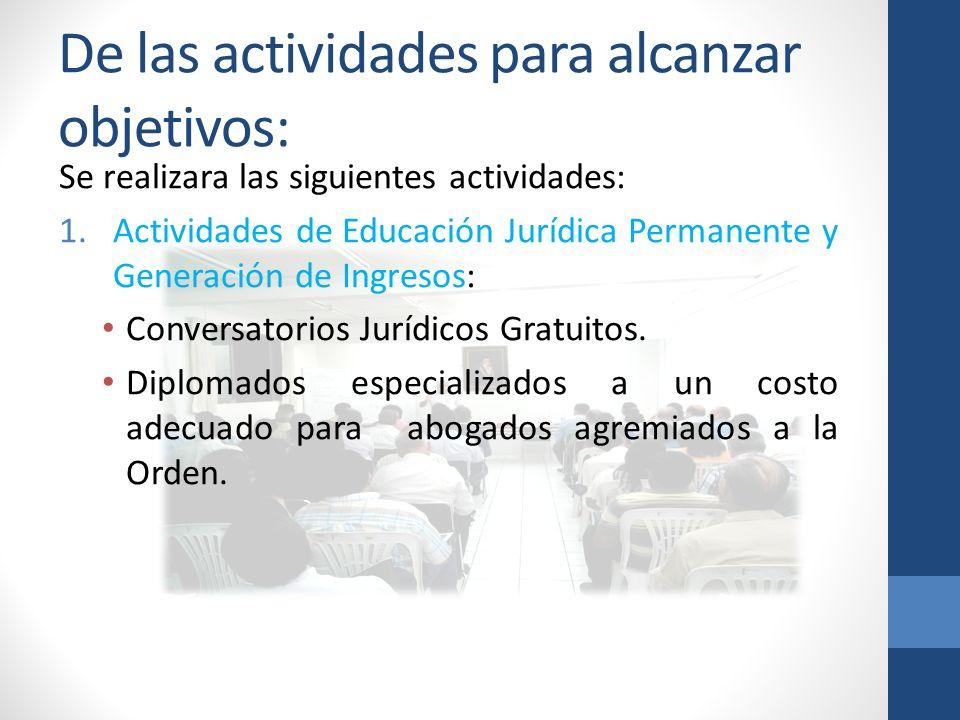 De las actividades para alcanzar objetivos: Se realizara las siguientes actividades: 1.Actividades de Educación Jurídica Permanente y Generación de Ingresos: Conversatorios Jurídicos Gratuitos.