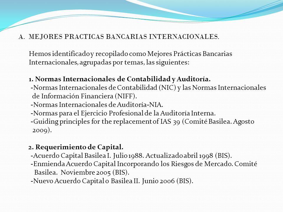 A. MEJORES PRACTICAS BANCARIAS INTERNACIONALES. Hemos identificado y recopilado como Mejores Prácticas Bancarias Internacionales, agrupadas por temas,