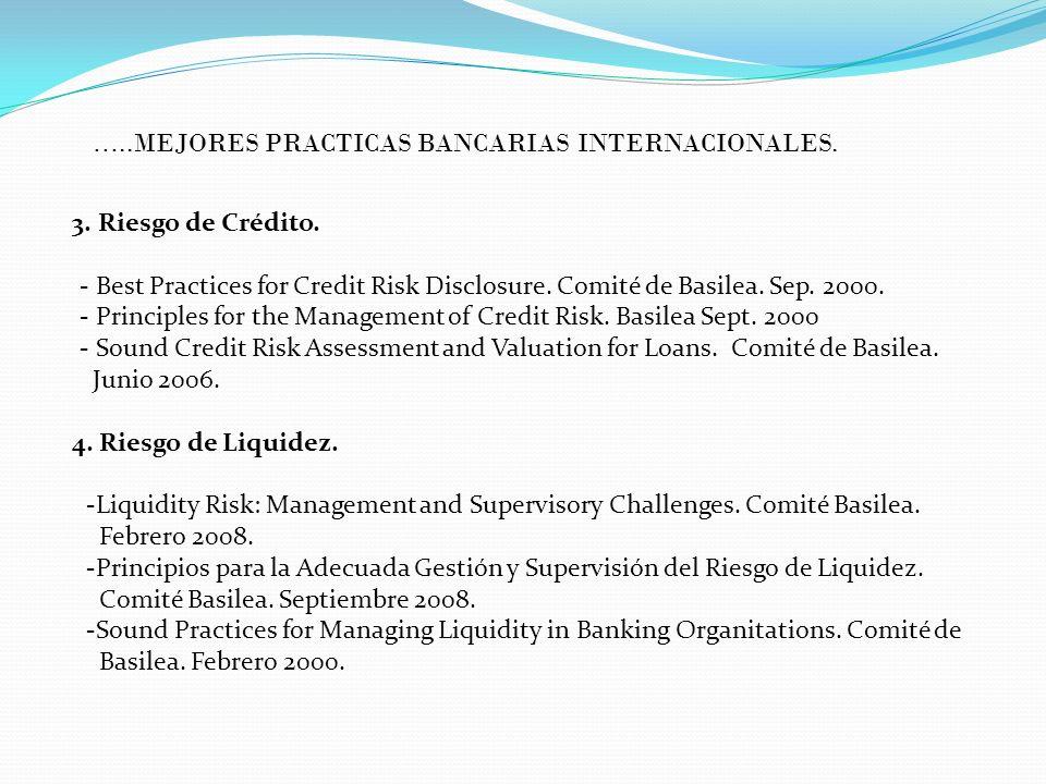 3. Riesgo de Crédito. - Best Practices for Credit Risk Disclosure. Comité de Basilea. Sep. 2000. - Principles for the Management of Credit Risk. Basil